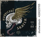 hurricane skater t shirt graphic | Shutterstock .eps vector #420025705