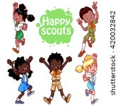 set of happy african american... | Shutterstock .eps vector #420032842