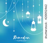 blue ramadan kareem celebration ... | Shutterstock .eps vector #420052462