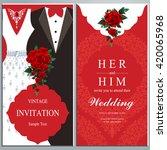 wedding invitation card  bride...   Shutterstock .eps vector #420065968