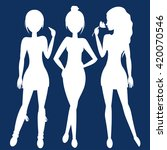 silhouette fashion girls | Shutterstock .eps vector #420070546