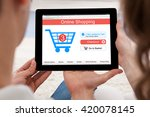 close up of couple shopping... | Shutterstock . vector #420078145