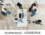 group of janitors in uniform... | Shutterstock . vector #420082906