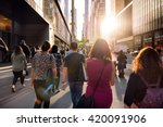 people walking from the work at ... | Shutterstock . vector #420091906