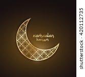 creative golden moon with... | Shutterstock .eps vector #420112735
