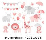 Stock vector cute jungle animals set for baby showers and birthdays 420113815