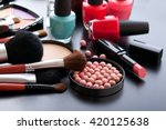 colorful cosmetics on black... | Shutterstock . vector #420125638