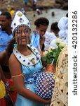 Small photo of SALVADOR - FEBRUARY 2: Iemanja Party, Afro-Brazilian Festival, Lady dressed as Yemanja, Rio Vermelho Salvador, February 2, 2016, Brazil.