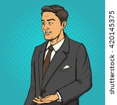 man in a business suit speaks... | Shutterstock .eps vector #420145375