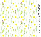 watercolor seamless floral... | Shutterstock . vector #420154306