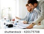 coworkers planning startup... | Shutterstock . vector #420175708