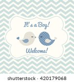 boy baby shower with two cute... | Shutterstock .eps vector #420179068