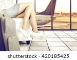 travel time and woman legs and... | Shutterstock . vector #420185425