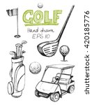 golf set. vector sketch | Shutterstock .eps vector #420185776