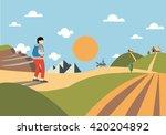 green landscape of sunny... | Shutterstock .eps vector #420204892