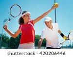 tennis instructor polishing... | Shutterstock . vector #420206446