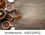 delicious fresh coffee with...   Shutterstock . vector #420210922