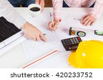 architects meeting discussing a ... | Shutterstock . vector #420233752