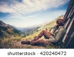 traveler man with gps navigator ... | Shutterstock . vector #420240472