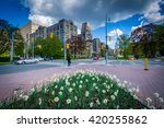 Small photo of Garden at Queen's Park, and the intersection of Queen's Park Crescent and Wellesley Street, in Toronto, Ontario.