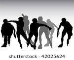 vector drawing athletes on... | Shutterstock .eps vector #42025624