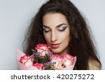 beautiful woman lady model with ... | Shutterstock . vector #420275272