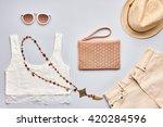 summer fashion girl clothes set ... | Shutterstock . vector #420284596