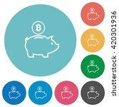 flat bitcoin piggy bank icon...