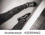 teenager in black sporty... | Shutterstock . vector #420304462