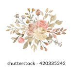 watercolor floral  posy with... | Shutterstock . vector #420335242