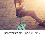 lonely woman missing her... | Shutterstock . vector #420381442