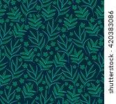 seamless dark blue tropical... | Shutterstock .eps vector #420383086