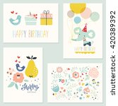 Set Of 4 Birthday Cards With...