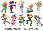 clowns in different costumes... | Shutterstock .eps vector #420395026