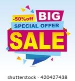 sale banner vector. 50 off.... | Shutterstock .eps vector #420427438