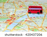 model of a red bus on top of... | Shutterstock . vector #420437206