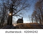 beautiful small rural church in ... | Shutterstock . vector #42044242