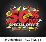 Stock vector sale off with abstract triangle elements 420442765