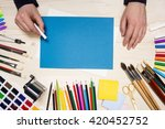 top view of man's hand drawing... | Shutterstock . vector #420452752