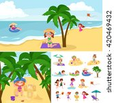 children summertime vacation... | Shutterstock .eps vector #420469432