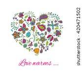 vector floral heart. doodles.  | Shutterstock .eps vector #420471502