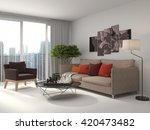 interior with sofa. 3d... | Shutterstock . vector #420473482