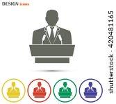 speaker icon. orator speaking... | Shutterstock .eps vector #420481165