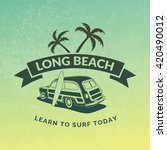 vintage surfing car label on... | Shutterstock .eps vector #420490012