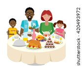happy multicultural family... | Shutterstock .eps vector #420493972