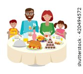 happy multicultural family... | Shutterstock .eps vector #420494572