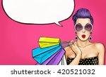 pop art woman in sun glasses... | Shutterstock . vector #420521032