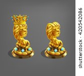 reward cartoon golden lion with ...