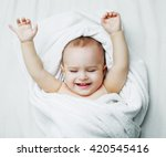 happy one year old baby with a... | Shutterstock . vector #420545416