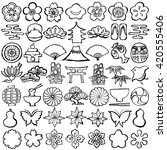 set of japanese icons. hand... | Shutterstock .eps vector #420555406